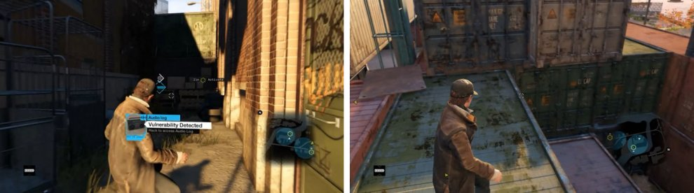 Make sure to get the second Engineers audio log (left) and then climb the crates (right).