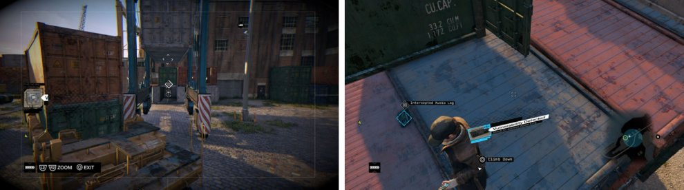 Find the gate switch via the cameras (left) and then climb the crates and get the third Engineers audio log (right).