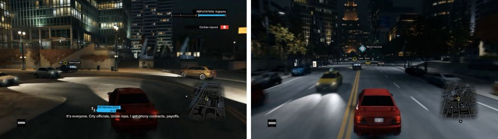 Chase after Defalt as you download the data (left) and then take him out once completed (right).