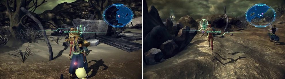 Location of Noel's message (left). Location of Serah's message (right).