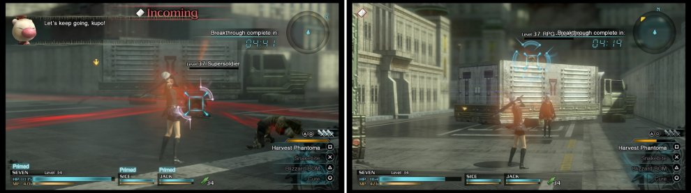 You'll need to absorb every Phantoma you come across (left) to get the S-Rank. Make sure you keep an eye out for some RPG Gunners on the roofs of the trucks (right).