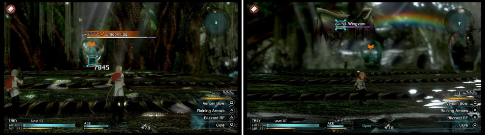 The Dragon Egg is not a difficult boss, but it has a TON of health (left). It will continually call in a Wingvern and Skyvern (right) every time you defeat them.