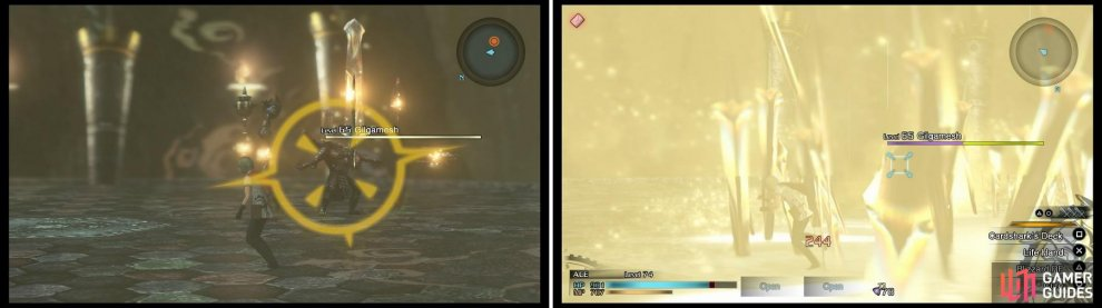 When you see Gilgamesh raise his weapons and give off a golden glow (left), be ready to dodge to avoid as much damage as possible when the various weapons come falling down (right).