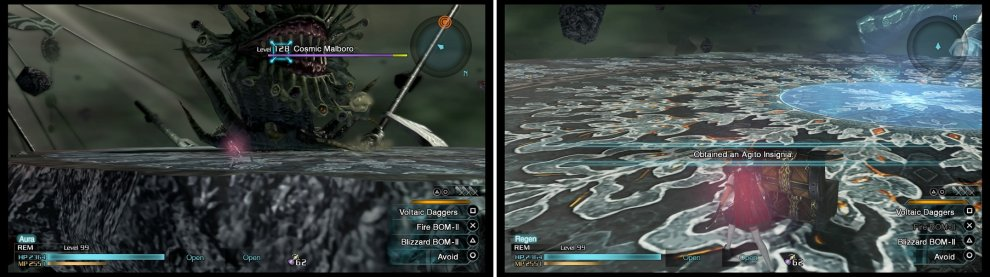 The Cosmic Malboro is huge and looks more threatening than it is (left). Slay it to receive the Agito Insignia, the best accessory in the game (right).