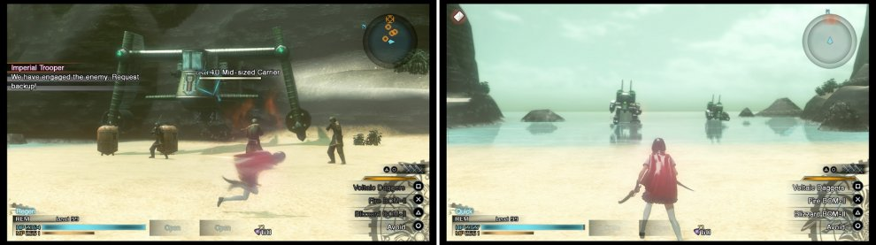 If you want to S-Rank this mission, you'll need to destroy the Carrier (left) and harvest its Phantoma. The enemies coming out of the water are just normal Colossi, despite having a different name (right).