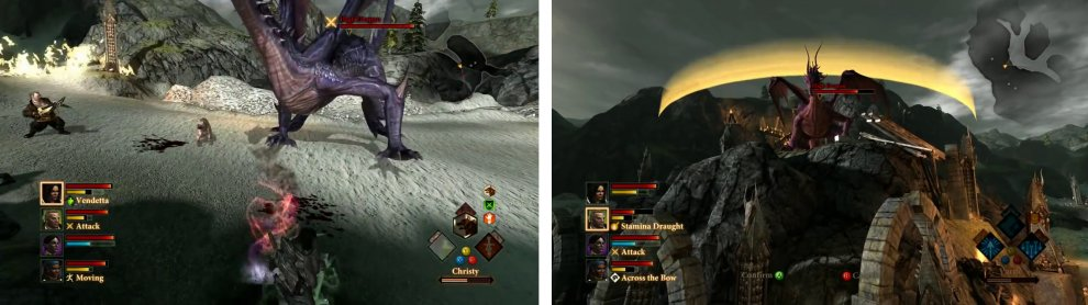 The dragon will fight on both the ground (left) and from a perch in the centre of the area (right).