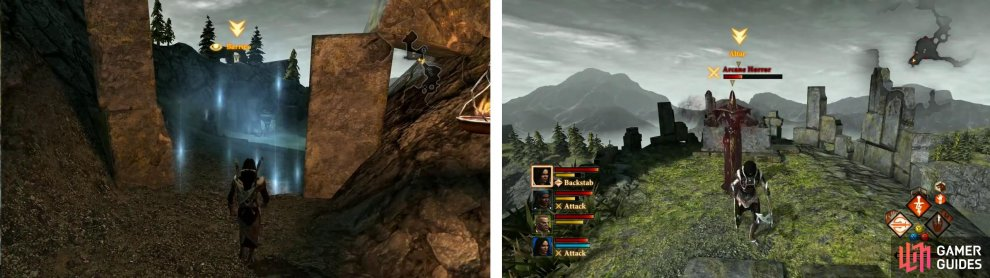 Have Merrill disable the barrier (left) and then approach the alter for a fight (right).