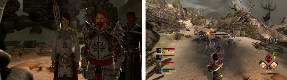 Find Thrask on the beach in the Wounded Coast (left) and then defeat Grace and the other enemies nearby.