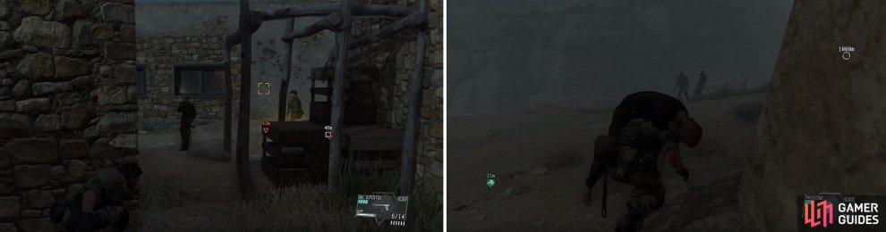 As you approach the building with Miller inside, watch out for guard patrols (left). When the Skulls appear, creep by the ones near the bridge (right) by creating a distraction.