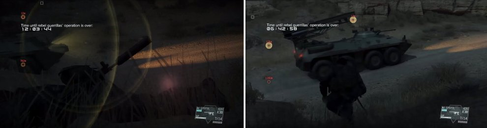 Look for the lens flare (left) and as soon as it disappears, you're safe to move and get in behind the vehicle (right).
