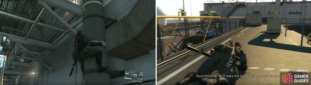 You can climb the pipe to stay hidden (left).When on the top deck you are required to stay low to the ground (right).