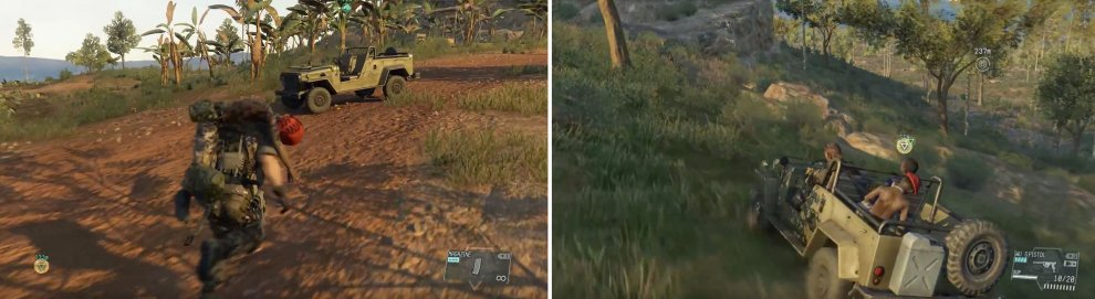Take the prisoners to a vehicle (left) and then proceed to the extraction zone (right).