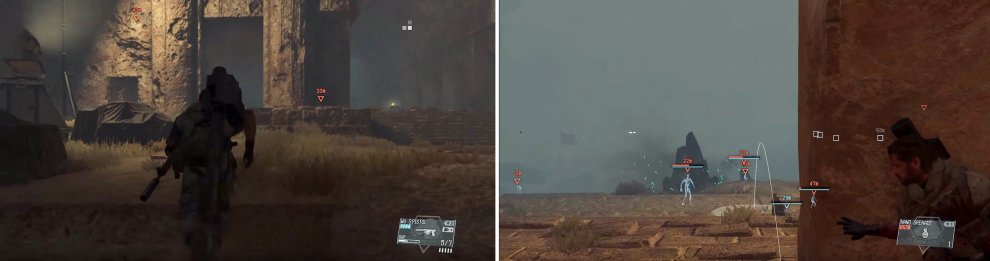 When you regain control, turn around and sprint up here (left). From this position, you can simply pick off the Skulls with grenades (right).