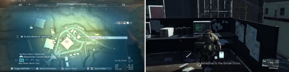 The AI Pod can be found in the larger eastern building (left). Approach the computer inside to access the Pod and a cutscene (right).