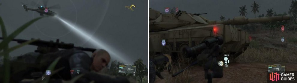 The dreaded enemy gunships return for the tank Side Ops (left). Extracting the tanks is one option to complete the side missions (right).