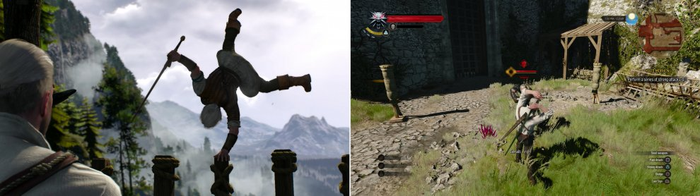 Geralt instructs Ciri as she trails (left), then spars with Vesemir to keep his own skills honed (right).