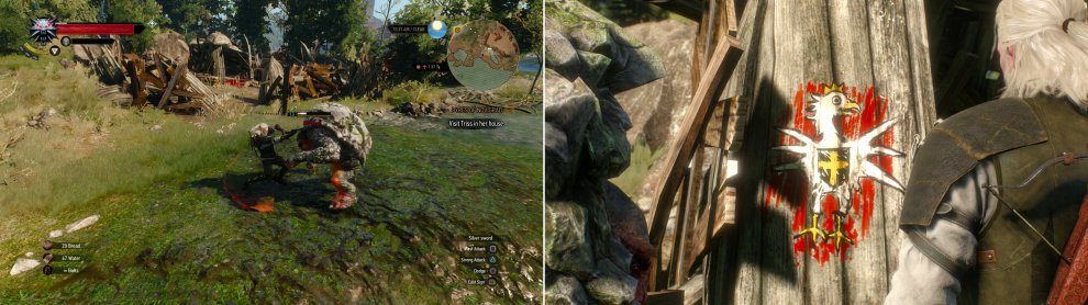Either kill the Troll at White Eagle Fort (left) or help it set the camp to correct military order (right). Just... don't let Geralt paint if you don't want to torture art.