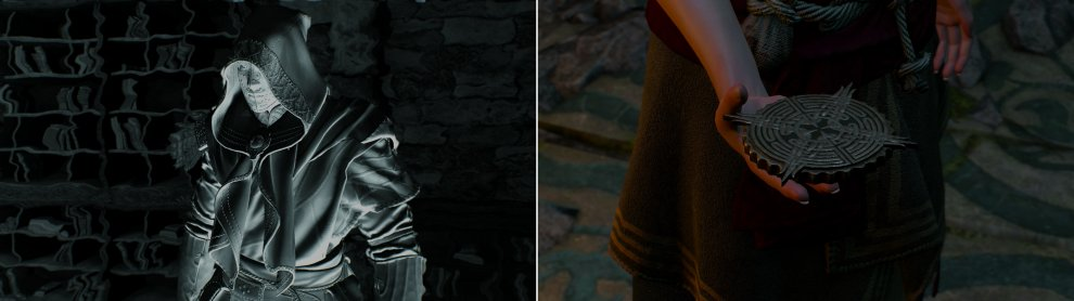 Find the final projection left by the mysterious mage (left). Keira will give you the Eye of Neheleri, which will allow you to dispel illusions (right).