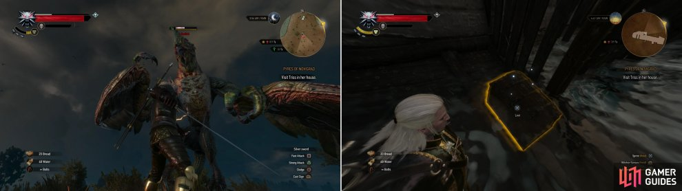Defeat a Basilisk (left) then board a neaby shipwreck and claim the treasure it's still carrying (right).