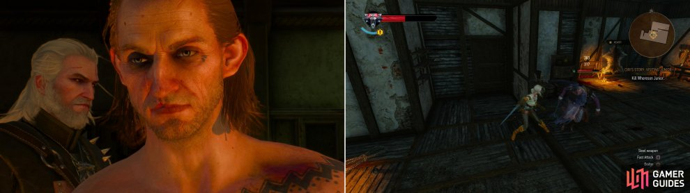 Confront Whorseon Junior in his estate (left) then witness (and replay) his earlier interactions with Ciri (right).
