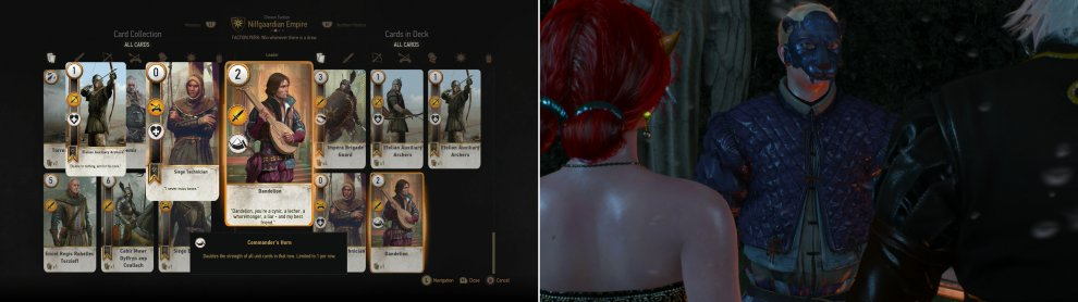 "Win a Gwent tournament at the part to score the ""Dandelion"" Card (left) then find Albert (right)."