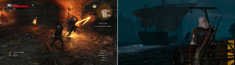 Kill the Katakan in the sewers (left) then watch the mages depart Novigrad (right).
