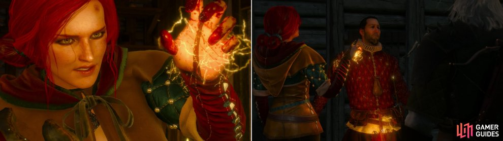 If tortured, Triss won't be in a very forgiving mood (left). Track down and interrogate Menge's contact to learn the information Menge himself can no longer provide (right).