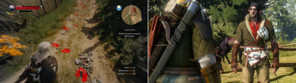 "Activate your Witcher Senses and follow the stolen horse's hoof prints (left. They'll lead you to the culprits, who, while not human, aren't quite worthy of the title ""woodland spooks"" (right)."