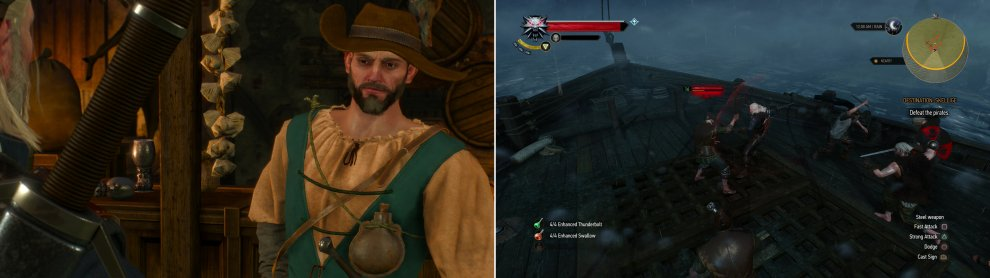 Find Captain Wolverstone In the Golden Sturgeon and pay him a handsome sum to take you to Skellige (left). Geralt is woken during the trip by the traditional Skellige welcoming party... (right)
