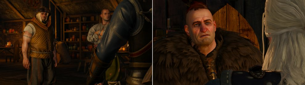 Not all Skelligers are friendly... well, most aren't, really, but some are even more unfriendly than others (left). A voice of reason in the form of a Skelliger named Jorund can be found, however (right).