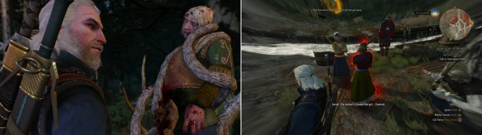 Looks like Witcher's Work (left). Track down the villager marked by the monster (right).