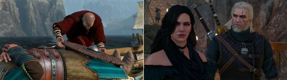 The Skelligers pay their respects to their late king (left) and Geralt reunites with Yennefer (right).