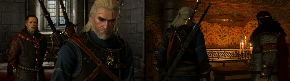 As battle with the Wild Hunt looms, Geralt must seek aid from various sources. Some are considerably less helpful than their resources would otherwise allow (left) while other go above and beyond (right).