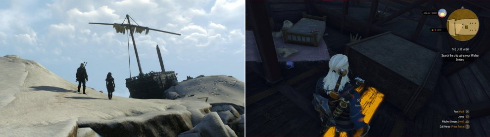 Find the other half of the mage's ship in a most unusual location (left), then search the ship to discover the mage's unfortunate fate (right).