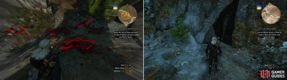 Your first encounter with Hjalmar's expedition does not inspire much hope (left). Follow the signs of battle into a nearby cave (right).