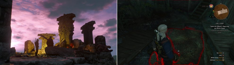 In the village of Fornhala, Geralt and Hjalmar will discover a shrine to Svalblod-a god so fierce, even the Skelligers don't worship him (left). Find a hidden trapdoor in one of the houses (right).