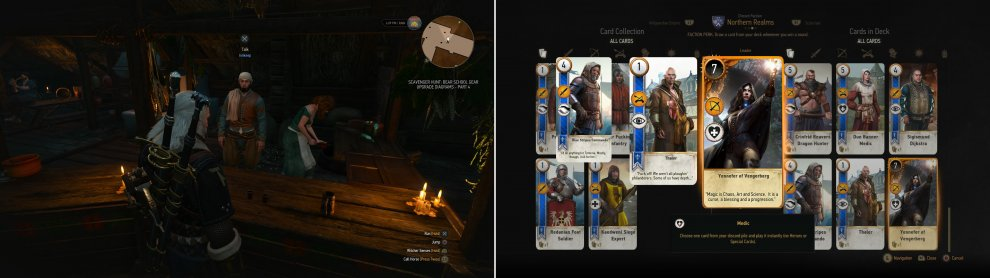 Play various Innkeeps in Velen (left) to score some rare and powerful cards (right).