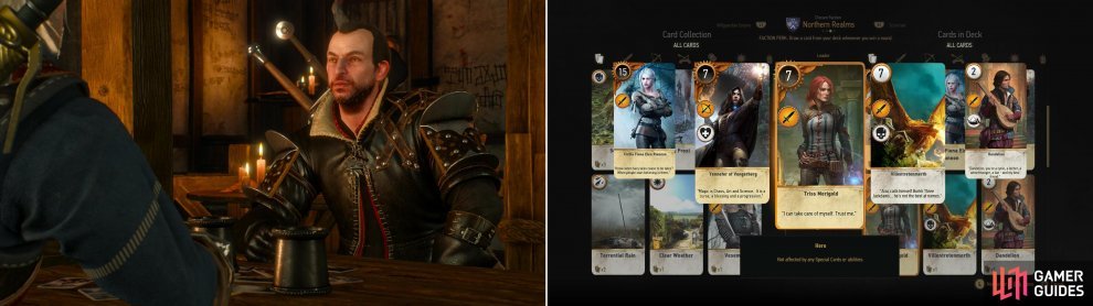 Your old friend Lambert can be played after helping him out in Skellige (left). If you win you'll obtain the Triss Merigold card (right).