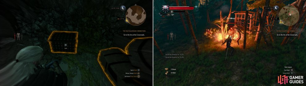 You'll find the Superior Ursine gear in a chest in a Nekker-infested cave (left). Kill some Bandits to rescue a merchant from peril (right).