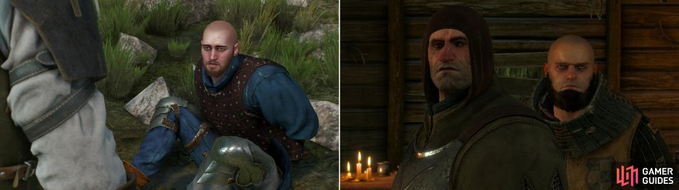 John Verdun has been tied up and left for the Drowners (left). Friendly faces are scarce at the Inn at the Crossroads (right).
