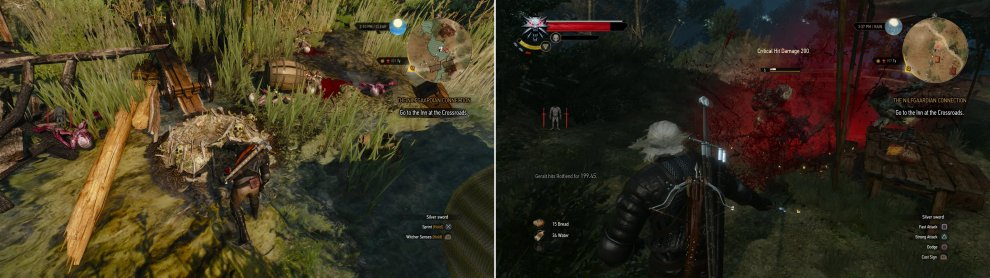 Defeat some Nekkers and destroy their nest near a ruined bridge (left). Another monster nest lies nearby, populated by exploding Rotfiends (right).