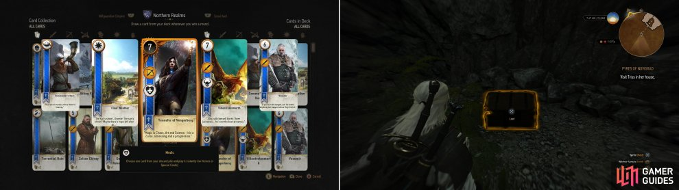 Defeat Stjepen to win the Yennefer of Vengerberg card (left). Seach Codger's Quarry to find a chest containing the Diagram: Enhanced Feline Gauntlets (right).