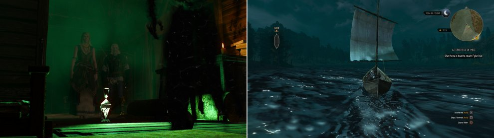 You'll interrupt Keira Metz making good use of that Magic Lamp you helped her recover (left). Agree to help her, then board a boat and set sail for Fyke Isle (right).
