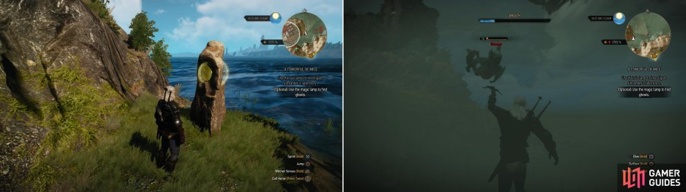 Draw from the Place of Power below Lornruk (left) then kill the Drowners in the water with your crossbow (right).