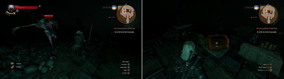 An Ekimmara - a lesser vampire - lurks in the depths of Dragonslayer Grotto (left). Defeat the vampire, then loot a chest to obtain the Griffin armor set (right).