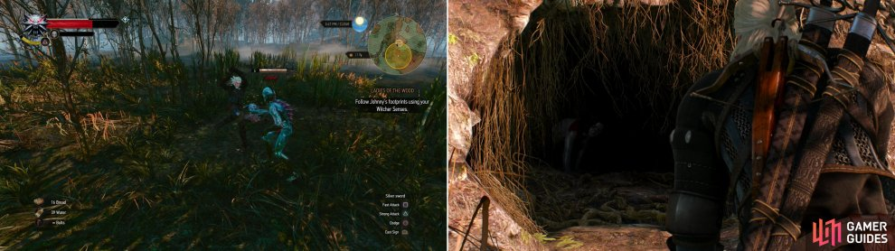 As you search for Johnny, beware of necrophages in the swamps (left). Eventually you'll find Johnny in his barrow (right).