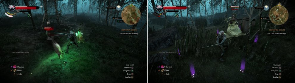 Kill the multitude of Wraiths that haunt Frischlow (left) then dispatch an accompanying Noonwraith down by the swamp (right).