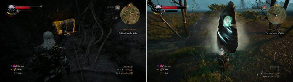 Use Aard to blast your way into a cave, where you'll find the Diagram: Enhanced Griffin Gauntlets in a chest (left). South of Frischlow you'll find a Place of Power (right).