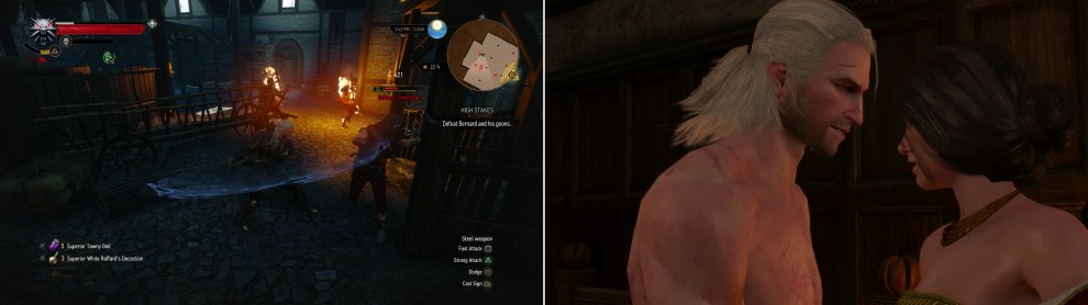 Defeat the thieves in the warehouse (left) after which Geralt and Sasha will make off with the money, have a nice dinner... and perhaps a little fun for dessert (right).