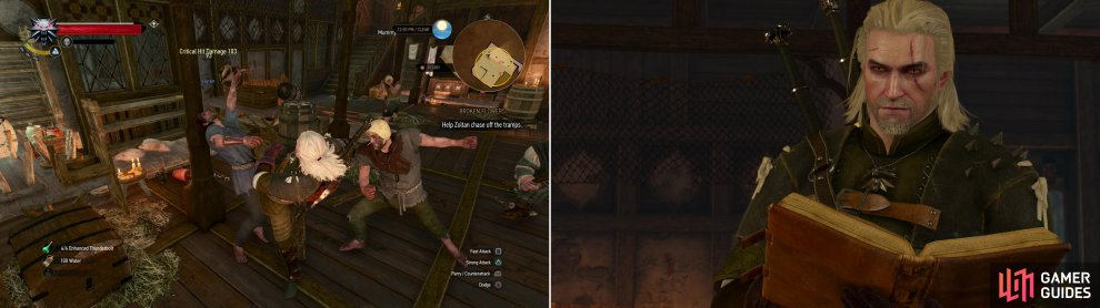 Help Zoltan fight off some squatters (left) then read Dandelion's Planner to find out where he may have gone (right).